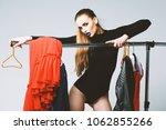 pretty girl in black bodysuit... | Shutterstock . vector #1062855266