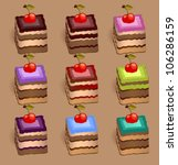 cherry square biscuits   Shutterstock .eps vector #106286159