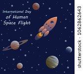 rocket in space | Shutterstock .eps vector #1062862643