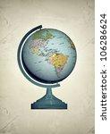 globe in old photo isolated on white background - stock photo