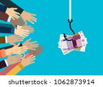 hands reaching out to get money ... | Shutterstock .eps vector #1062873914