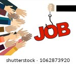 job on a hook. hands reaching... | Shutterstock .eps vector #1062873920