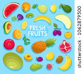colorful cartoon fruit poster... | Shutterstock .eps vector #1062879500
