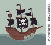 haunted ghost ship illustration ...   Shutterstock .eps vector #1062880559
