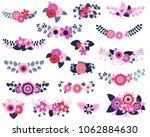 vector floral design elements... | Shutterstock .eps vector #1062884630