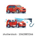 dirty and clean car. car wash.... | Shutterstock .eps vector #1062885266