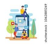 men and women standing with... | Shutterstock .eps vector #1062885269