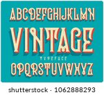 vintage extruded typeface... | Shutterstock .eps vector #1062888293