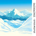 winter mountain landscape with... | Shutterstock .eps vector #1062900290