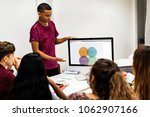 young boy presenting a project... | Shutterstock . vector #1062907166