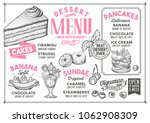 dessert restaurant menu. vector ... | Shutterstock .eps vector #1062908309