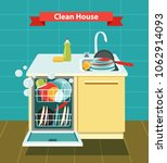 open dishwasher with clean... | Shutterstock .eps vector #1062914093