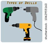 different types of drills.... | Shutterstock .eps vector #1062955163
