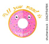 sweet glaze pink donut isolated ... | Shutterstock . vector #1062956984