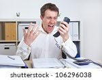 angry business man screaming at ... | Shutterstock . vector #106296038