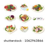 collection of various salads... | Shutterstock .eps vector #1062963866