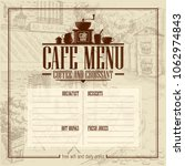 cafe menu list with vintage... | Shutterstock .eps vector #1062974843