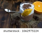 chocolate pudding with chia and ... | Shutterstock . vector #1062975224