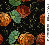 embroidery pumpkin seamless... | Shutterstock .eps vector #1062977276