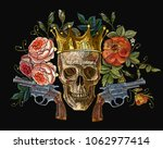 embroidery golden crown  guns ... | Shutterstock .eps vector #1062977414