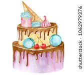 sweet celebration cake with... | Shutterstock . vector #1062979376