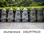 Dol Hareubang Statues In A Row...