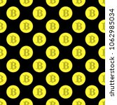 golden bitcoin seamless pattern ... | Shutterstock . vector #1062985034