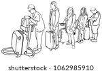 vector sketch of passengers... | Shutterstock .eps vector #1062985910