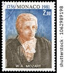 Small photo of Monaco, Monaco - May 4, 1981: Wolfgang Amadeus Mozart(1756-1791), Austrian musician, a prolific and influential composer of the classical era. Stamp issued by Monaco Post in 1981.