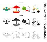 carousel  sandbox  park ... | Shutterstock .eps vector #1062991808