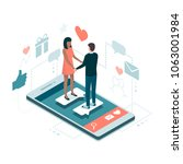 couple meeting online on a... | Shutterstock .eps vector #1063001984