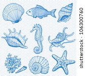 sea collection. original hand... | Shutterstock .eps vector #106300760