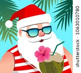 santa claus wearing sunglasses  ... | Shutterstock .eps vector #1063010780