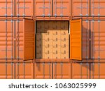 background with cargo shipping... | Shutterstock . vector #1063025999
