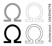 Symbol Omega Icon Set Grey...