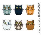 six cute vector cats | Shutterstock .eps vector #1063086500