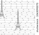 eiffel tower and hearts. ... | Shutterstock .eps vector #1063090070
