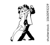man and woman dancing tango.... | Shutterstock .eps vector #1063093229
