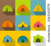 camping tent icons set. flat... | Shutterstock . vector #1063103579