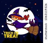 halloween kids costume party.... | Shutterstock .eps vector #1063119326