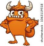proud orange cartoon monster.... | Shutterstock .eps vector #1063119518