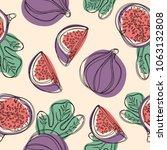 fresh fig fruit seamless... | Shutterstock .eps vector #1063132808