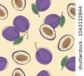 seamless pattern with plum.... | Shutterstock .eps vector #1063132844