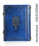 jewish blue leather book with... | Shutterstock . vector #1063133060