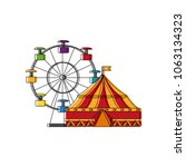 circus tent and wheel fortune | Shutterstock .eps vector #1063134323