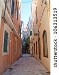 narrow alley   old town  corfu  ... | Shutterstock . vector #106313519