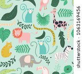 vector little jungle seamless... | Shutterstock .eps vector #1063169456