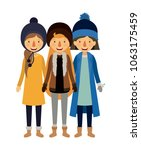 group of women with winter...   Shutterstock .eps vector #1063175459