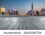 night view of empty brick floor ...   Shutterstock . vector #1063186754