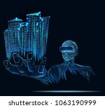 a person in virtual glasses.... | Shutterstock .eps vector #1063190999